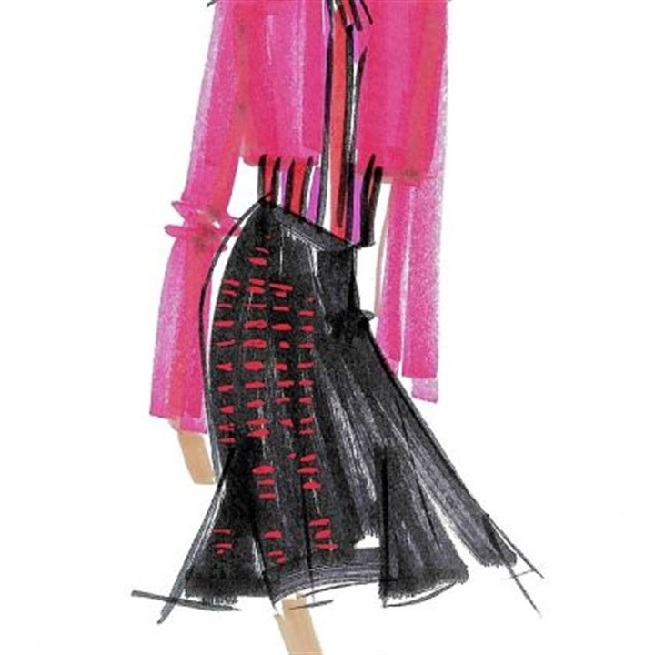 A sketch A sketch of a look from the upcoming L'Wren Scott for Banana Republic holiday collection.