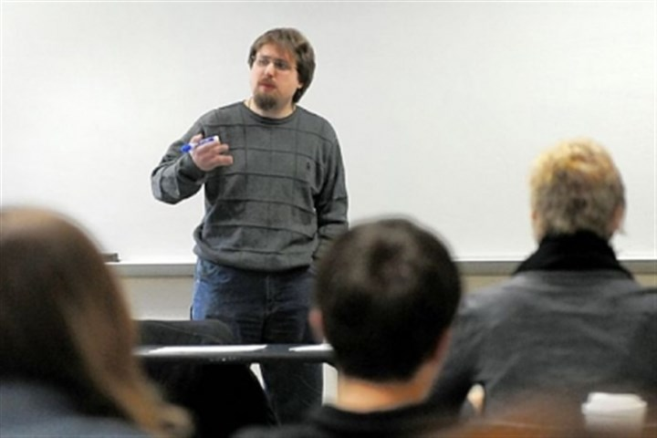 Adam Davis Adam Davis, an adjunct professor at Point Park University, teaches an introductory-level science course at the university. The 34-year-old ekes out a living teaching eight classes this semester on three campuses.