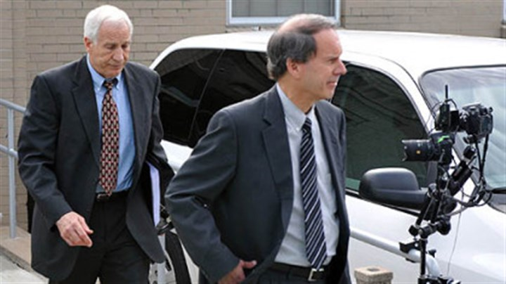 After first day of jury selection Jerry Sandusky and his attorney, Joe Amendola, leave the Centre County Courthouse after the first day of jury selection for Mr. Sandusky's trial.