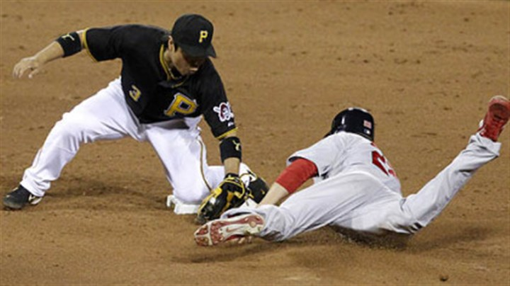 Aki Iwamura and Joe Mather Pirates second baseman Aki Iwamura misses the tag on Cardinals pinch-runner Joe Mather on a steal in the ninth. Mather would score the winning run.