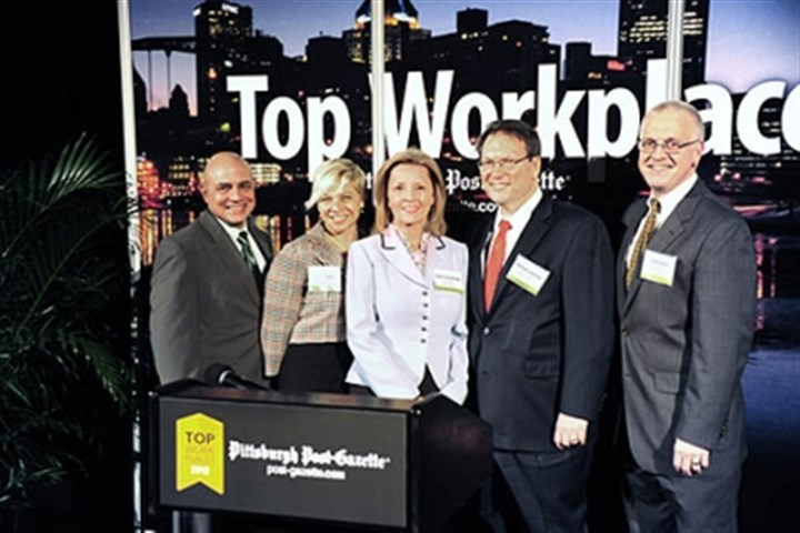 Alan Blanco, Anne Parys, Diane Vogelberger, William Lestitian and Steve Spolar Alan Blanco, Anne Parys, Diane Vogelberger, William Lestitian and Steve Spolar at the 2012 Top Workplaces awards sponsored by the Pittsburgh Post-Gazette.