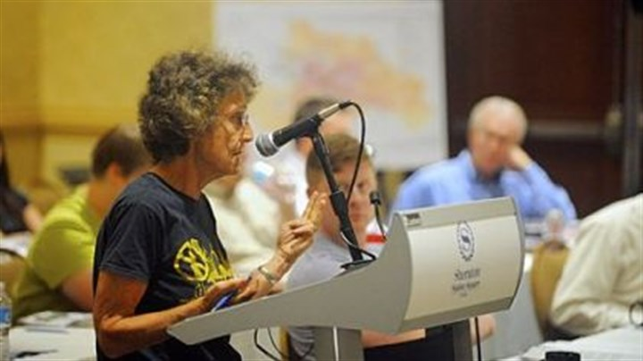 Alcosan meeting Joni Rabinowitz of Park Place speaks during an Aug. 16 meeting at the Sheraton Station Square on Alcosan's proposed $2.8 billion sewer improvement project.