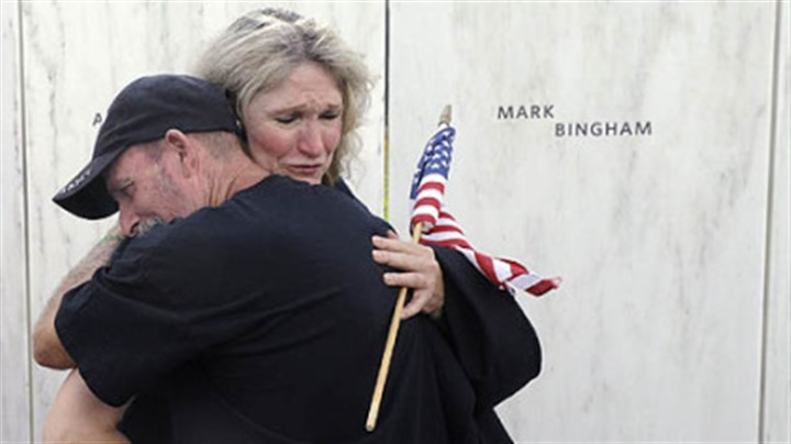 Alice Hoagland Alice Hoagland, mother of Mark Bingham, who died on Flight 93, hugs Iraqi war veteran Glenn Crutchfield of Coal Hill, Ark. The Wall of Names has the names engraved of the 40 victims of the Flight 93 crash.