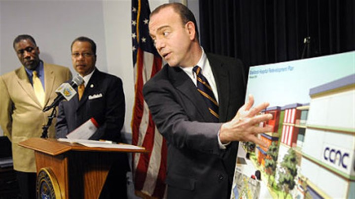 Allegheny County Executive Dan Onorato Allegheny County Executive Dan Onorato holds a news conference to unveil a possible development plan for the former UPMC Braddock hospital on Tuesday. Wilford A. Payne, the executive director of Primary Care Health Services, left, and Alex Johnson, president of the Community College of Allegheny County, also attended to explain their roles in the possible development of the site.