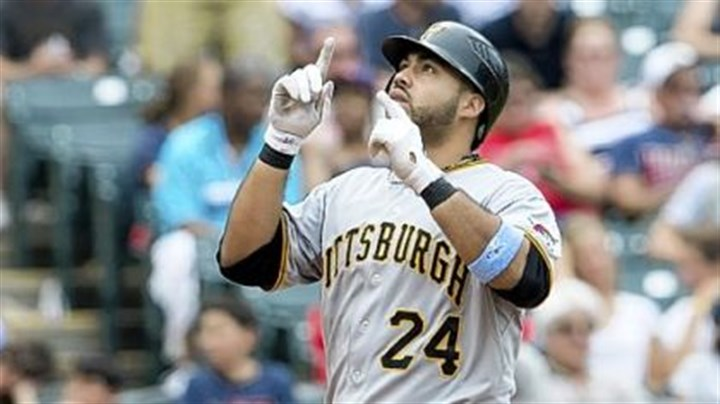 alvarez Pedro Alvarez touches home plate after hitting his second three-run home run against the Indians in the sixth inning Sunday at Progressive Field in Cleveland.