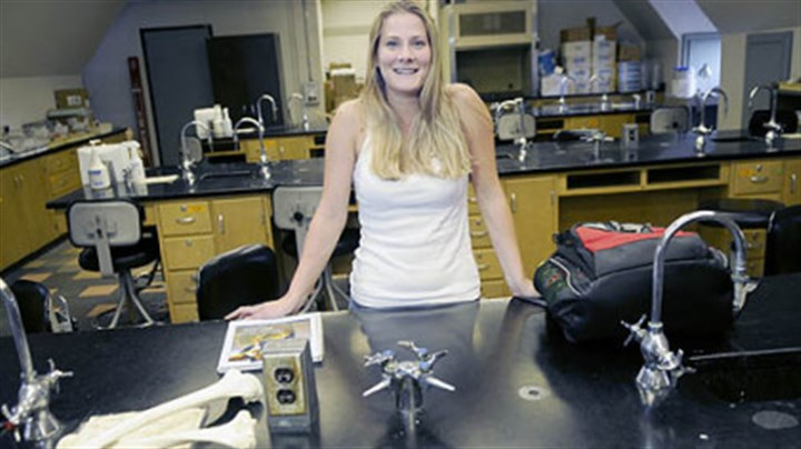 Amanda Grady Amanda Grady, 25, of the North Side, in a lab room where she had a class.