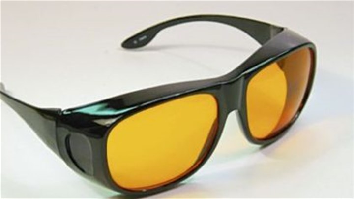Amber-tinted glasses These amber-tinted glasses are designed to block the blue light that suppresses the body's production of melatonin, the sleep hormone.