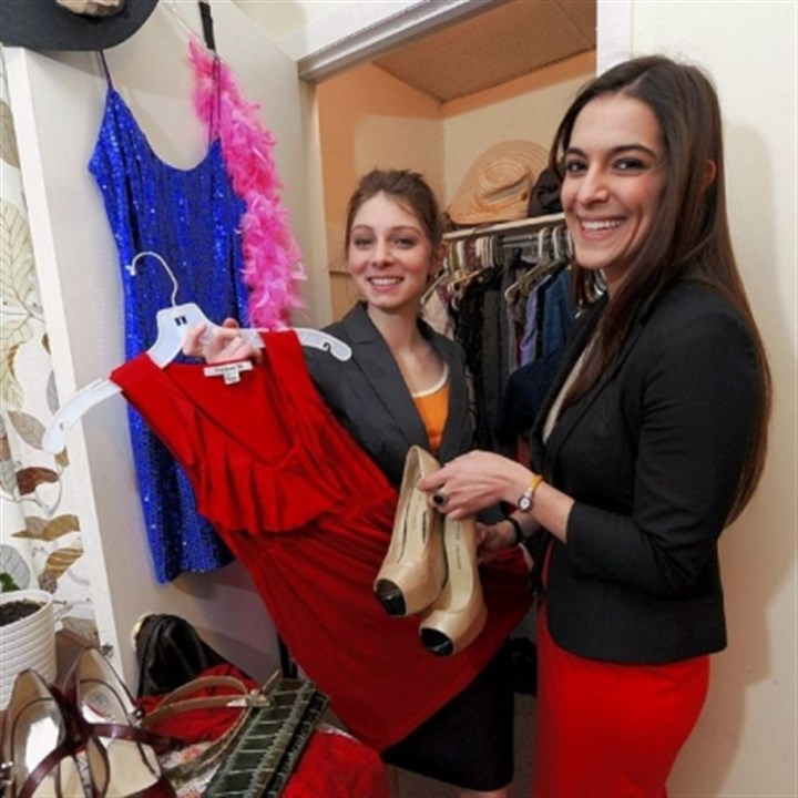 Andrea Wetherald and Sara Longo Andrea Wetherald, left, and Sara Longo are developing an app called Share Closet to make it easy to swap clothes and accessories among users' closets.