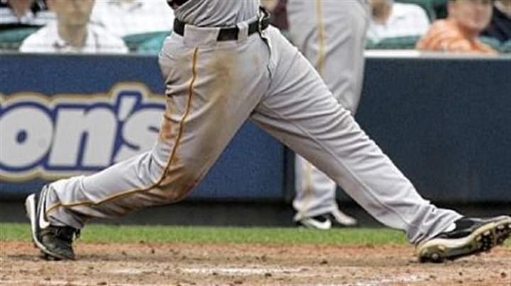 Andy LaRoche Andy LaRoche hits a two-out, two-run single against the Braves in the ninth inning yesterday in Atlanta.