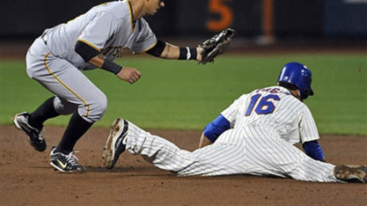 Angel Pagan and Ronny Cedeno The Mets' Angel Pagan is caught trying to steal second base by Pirates shortstop Ronny Cedeno.