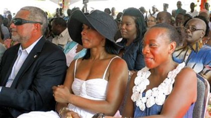 "Angela Bassett Actresses Angela Bassett, center, and Marianne Jean-Baptiste, right, accompanied by Antigua and Barbuda's Tourism Minister John Maginley, attend a ceremony renaming Antigua's highest mountain ""Mount Obama."""