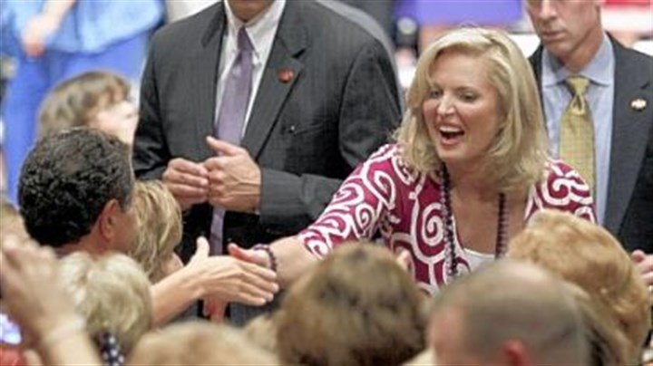 Ann Romney shakes hands with supporters Ann Romney shakes hands with supporters after speaking at a Women for Mitt rally Wednesday at the Winebrenner Auditorium at the University of Findlay in Findlay, Ohio.