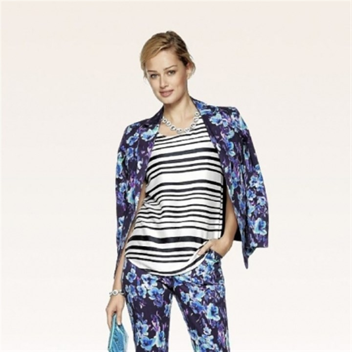Ann Taylor outfit Sidewalk Stripe Tank, $48; Nightshade Floral Jacket, $148; and Nightshade Floral Pant, $88, at Ann Taylor.