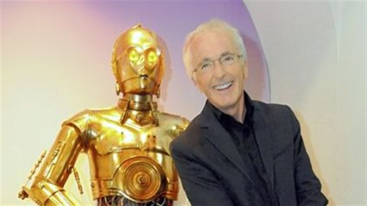 "Anthony Daniels Actor Anthony Daniels visits his C-3PO costume from the ""Star Wars"" movie series at a preview of the ""roboworld"" exhibit at Carnegie Science Center."
