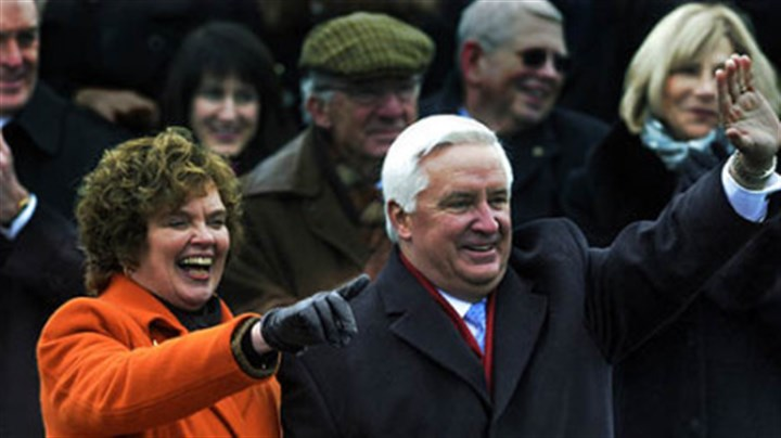 Arriving in Harrisburg Gov. Tom Corbett and his wife, Susan, arrive Tuesday morning for his inauguration in Harrisburg.