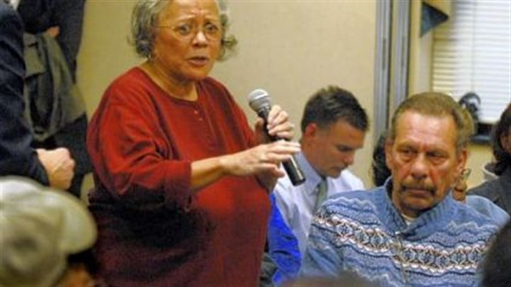 At the meeting Jeannette Stanton, 80, a lifelong resident of Braddock, speaks about closing UPMC Braddock Hospital at Tuesday's meeting.