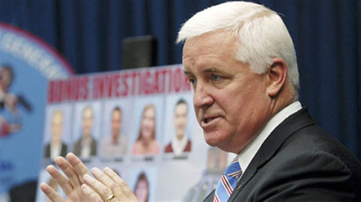 Attorney general details recommended charges Pennsylvania Attorney General Tom Corbett outlines the results of his office's grand jury investigation into the bonusgate scandal yesterday.