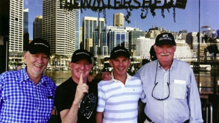 Aussies 3 Don Campbell, Peter Ward, John Fairley, and Reg Henry in Darling Harbour, Sydney, in March, 2013.