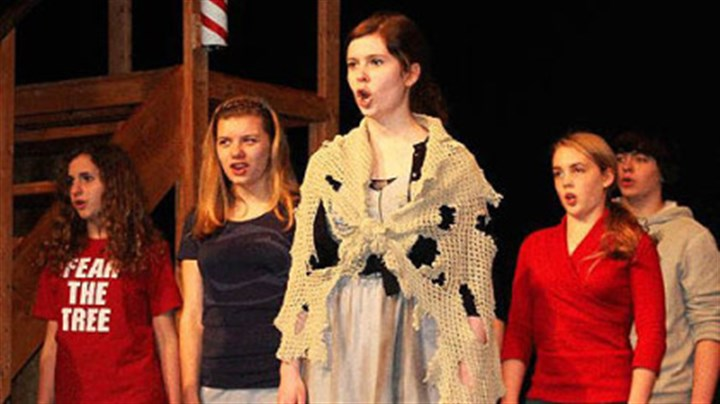 "Avonworth Avonworth High School's cast members rehearse a scene from ""Sweeney Todd."""
