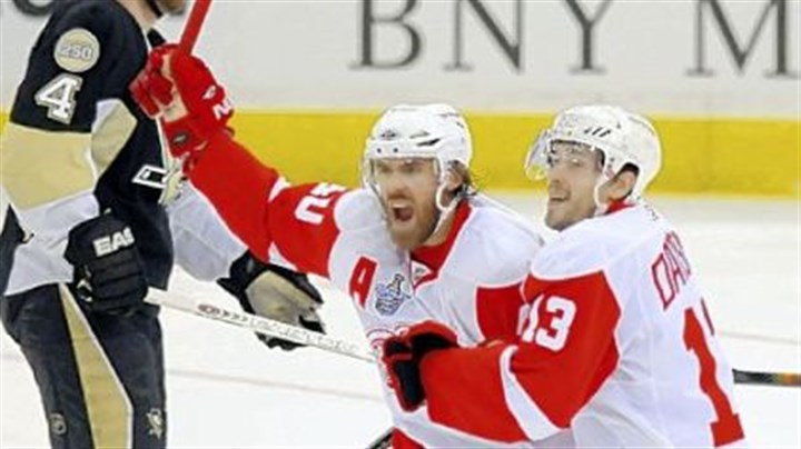 Bad memories Henrik Zetterberg and Pavel Datsyuk celebrate Brian Rafalski's first-period goal against the Penguins in Game 6 of the Stanley Cup final June 4 at Mellon Arena. The Red Wings won the game and the Stanley Cup title.