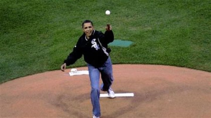 Barack Obama President Barack Obama throws out the first pitch.