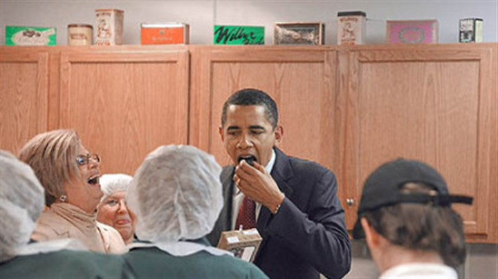 Barack Obama Sen. Barack Obama tours the Wilbur Chocolate Co. in Lititz, Lancaster County, yesterday.