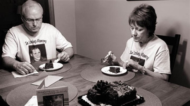 Barb and Duane DiPietro Barb and Duane DiPietro commemorate what would have been their son Justin's 27th birthday July 18 with his favorite cake, chocolate with chocolate icing, at their home in Manor, Westmoreland County.