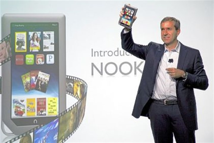 Barnes & Noble CEO William Lynch Barnes & Noble CEO William Lynch, introducing the new Nook tablet in November 2011. The company is discontinuing production of the e-reader.
