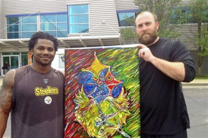Baron Batch Steelers running back Baron Batch, left, made this painting for teammate Brett Keisel.