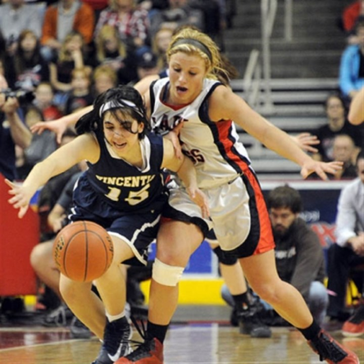 Battle for the ball Vincentian Academy's Abbey Bartoszewicz, left, battles for the loose ball with Tri-Valley's Juli Weber in the second half of the PIAA Class A basketball championship game at Giant Center in Hershey, Pa.