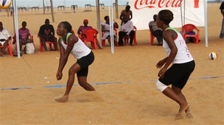 Beach volleyball uniforms Women competing in the beach volleyball Continental Cup in Togo wear uniforms approved under the sport's new uniform regulations, which allow players to wear apparel that provides more coverage.