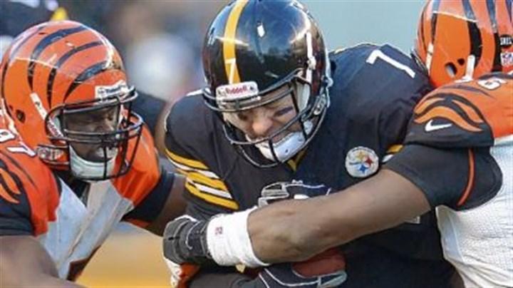 Ben.jpg Steelers quarterback Ben Roethlisberger is sacked Sunday against the Bengals at Heinz Field.