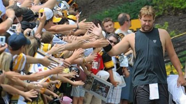 Ben Roethlisberger Ben Roethlisberger, making his way to the Steelers trainig camp practice field, high fives fans along the way before afternoon sessions yesterday at St. Vincent College in Latrobe.
