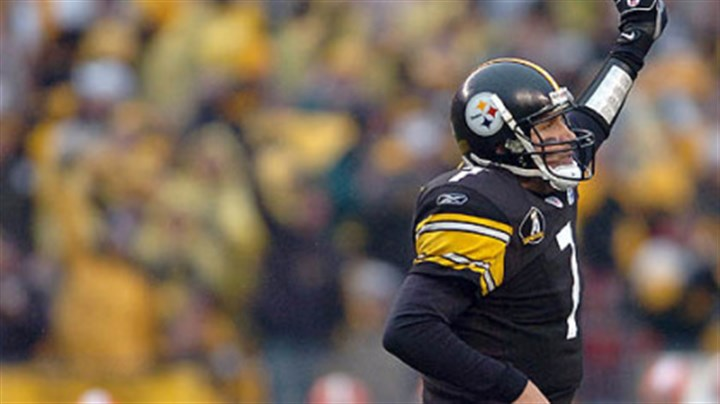 Ben Roethlisberger Quarterback Ben Roethlisberger celebrates after scoring on a 30-yard touchdown run in the 4th quarter. (vs. Browns 11/11/07)