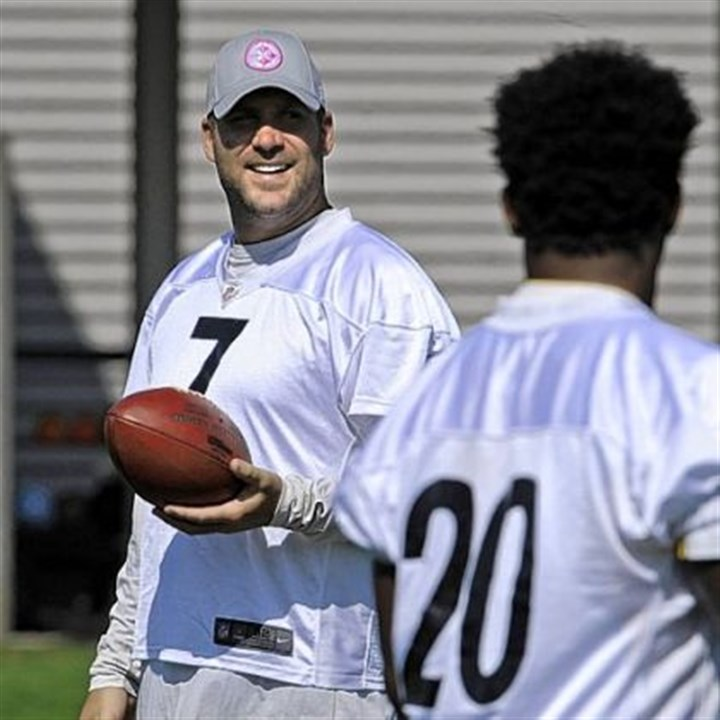 Ben Roethlisberger at practice Ben Roethlisberger gets ready for practice Tuesday as the Steelers deal with a short week before heading to Tennessee.