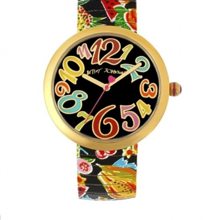 Betsey Johnson watch Betsey Johnson oversized tropical watch, $95 at www.betseyjohnson.com.