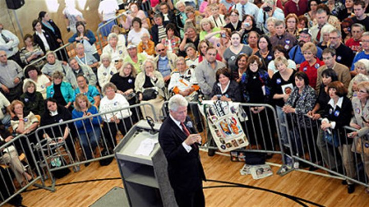 Bill Clinton in Cranberry Former President Bill Clinton stumps for his wife at the Rose E. Schneider YMCA in Cranberry last evening.