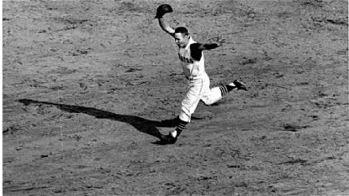 Bill Mazeroski This 1960 photo of Bill Mazeroski rounding second base after his famous home run will serve as the model for the new PNC Park statue.