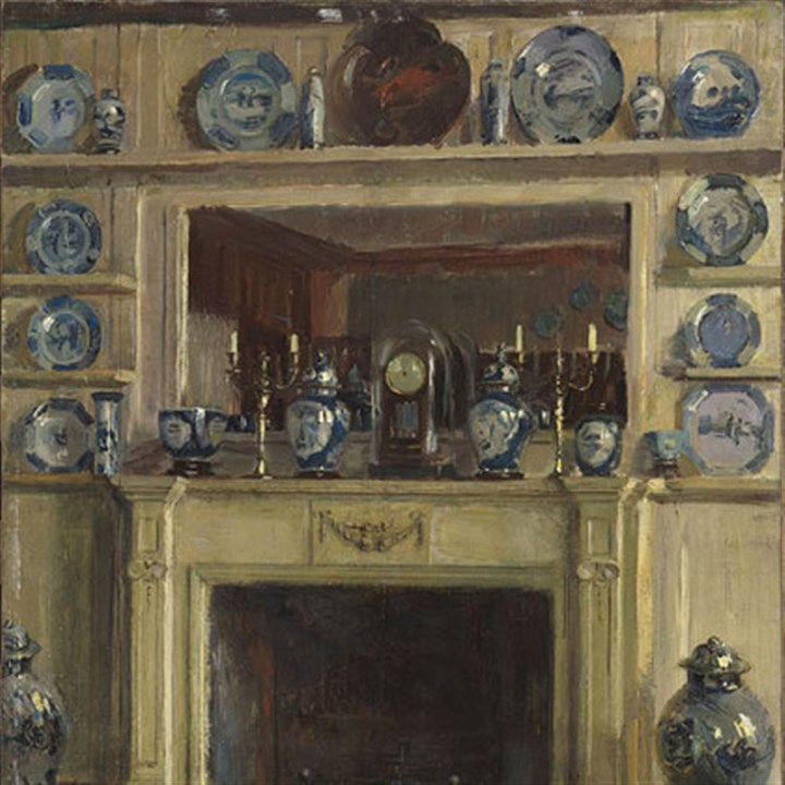 """Blue and White"" ""Blue and White"" by Walter Gay, part of ""Impressions of Interiors: Gilded Age Paintings by Walter Gay"" exhibition at The Frick Art Museum."
