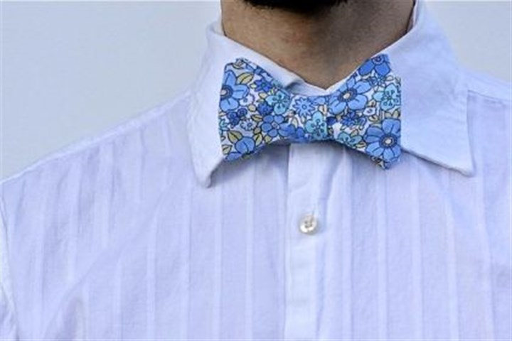Blue floral tie This blue floral bow tie at Happy Handmade Haberdashery sells for $30.
