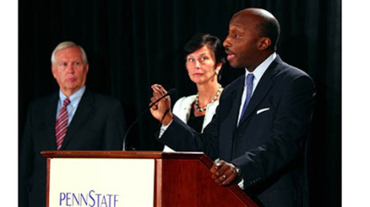 board of trustees freeh reax Kenneth C. Frazier, Chairman of the Special Investigations Task Force and Trustee of the Penn State Board of Trustees, talks as University President Rodney Erickson, left, and Chairman of the Board of Trustees, Karen Peetz, center, listen in during a news conference in Scranton today.