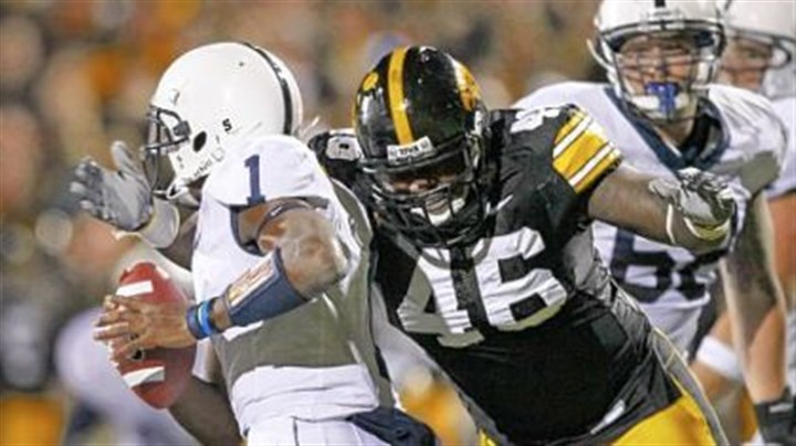 Bolden sacked Iowa defensive tackle Christian Ballard sacks Penn State quarterback Robert Bolden Saturday night in Iowa City. The Hawkeyes defeated Penn State 24-3.
