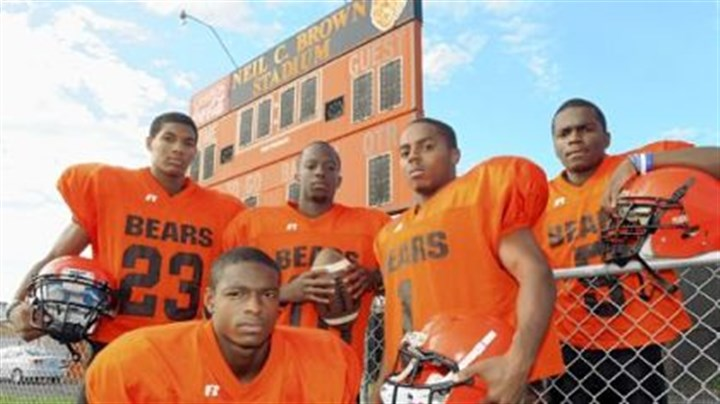 """Bout Dat"" win streak Returning veterans for the four-time defending WPIAL Class A champion Clairton Bears are Titus Howard (front), from left, Tyler Boyd, Armani Ford, Tyus Booker and Terrish Webb. One of their goals this season is to lengthen their WPIAL-record winning streak."