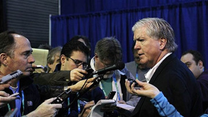 Brian Burke U.S. general manager Brian Burke speaks to about 50 reporters Monday at Canada Hockey Place.