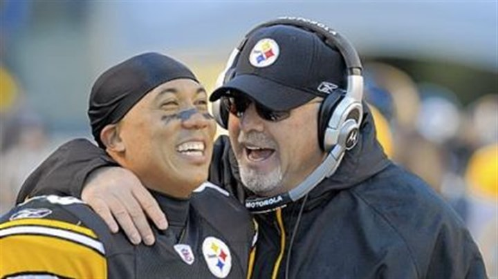 Bruce Arians and Hines Ward Steelers wide receiver Hines Ward and offensive coordinator Bruce Arians.