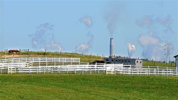 Bruce Mansfield plant Plumes of emissions from FirstEnergy Corp's Bruce Mansfield coal-fired power plant in Shippingport, Beaver County, are visible behind a horse farm in nearby Hookstown.