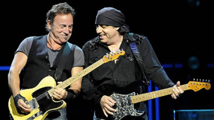 "Bruce Springsteen and Steven Van Zandt Bruce Springsteen and Steven Van Zandt perform during the ""Working on a Dream"" tour at Mellon Arena tonight."