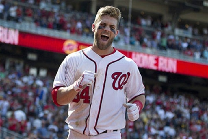 bryce harper happy Washington Nationals Bryce Harper celebrates his game-winning two-run home run in the ninth inning.