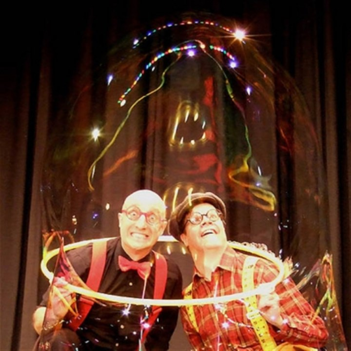 "'Bubble Time' Circus performers Casey Carle and Doug Rougeux bring ""Bubble Time"" to the Byham Theater Friday and Saturday."