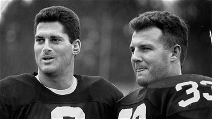 Bubby Brister, left, and Merrill Hoge 1989 backfield mates Bubby Brister, left, and Merrill Hoge.